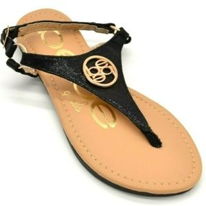 BeBe Thong Sandals Ankle Strap Size 2 Black New